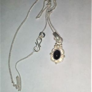 Vintage Sterling Silver Amethyst  Pendant w/chain